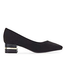 Flexi Sole Block Heel Court Shoes Wide E Fit