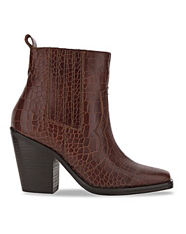Leather Mock Croc Western Ankle Boots Wide E Fit