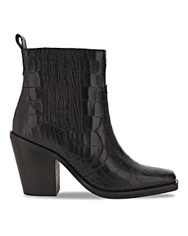 Leather Mock Croc Western Boots E Fit