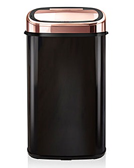 Tower 58L Black & Rose Gold Square Sensor Bin