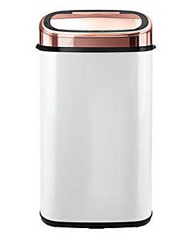 Tower 58L White & Rose Gold Square Sensor Bin
