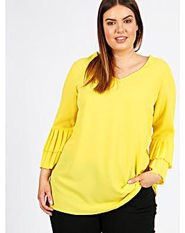 Lovedrobe GB Lemon Pleat Sleeve Blouse