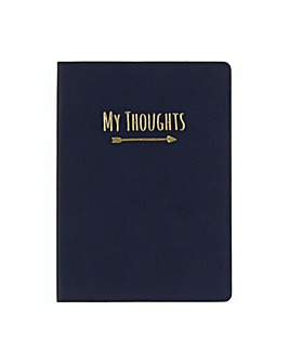 Leatherette My Thoughts Navy Journal