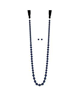 Mood Blue Pearl Ribbon Jewellery Set