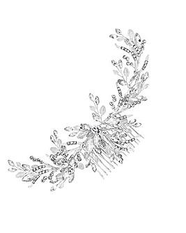 Silver Crystal Beaded Wreath Comb