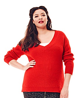 Jeffrey & Paula Deep V-Neck Boyfriend Jumper