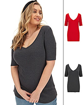 2 Pack V Neck Ribbed 1/2 Sleeve Tops