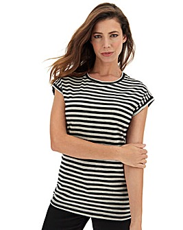 Black/Grey Stripe Turn Cuff T-Shirt