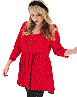 Red 3/4 Sleeve Button Down Smock Tunic