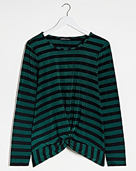 Green Stripe Twist Front Stripe Top