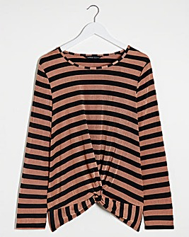 Camel Stripe Twist Front Stripe Top