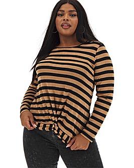 Camel Stripe Twist Front Stripe Top