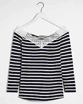 Stripe Crochet Lace V Neck Top