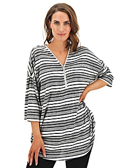 Grey Stripe Zip Front Jumper