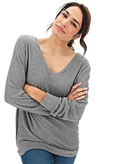 Grey Knit Look Jumper