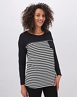 Long Sleeve Curve Hem Pocket T Shirt