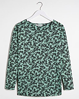Floral Long Sleeve Curve Hem Pocket T Shirt