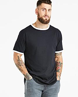 Black Ringer Crew Neck T-shirt