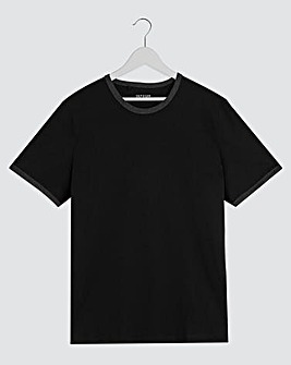 Black Ringer Crew Neck T-shirt