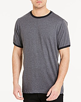 Black Ringer Crew T-shirt Long