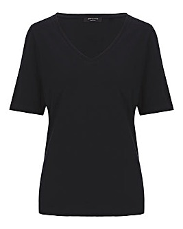 Cotton Slub Deep V-Neck T-Shirt