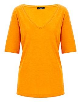 Cotton Slub Deep V-Neck T-Shirt