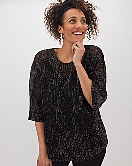 Black Sequin Boxy Top