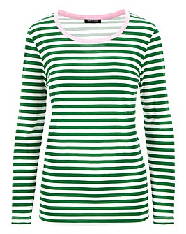 Green Cotton Slub Long Sleeve Top