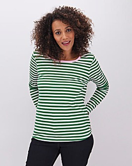 Green Cotton Slub Long Sleeve Top