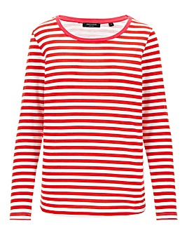 Red Stripe Cotton Slub Long Sleeve Top