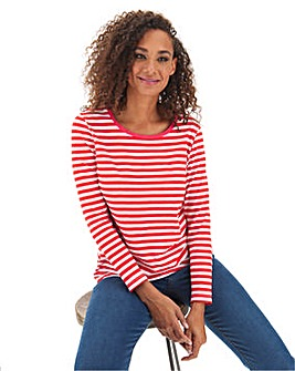 Red Stripe Cotton Slub Long Sleeve Top