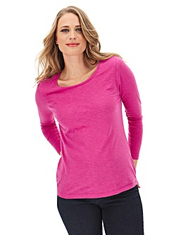 Pink Cotton Slub Long Sleeve Top