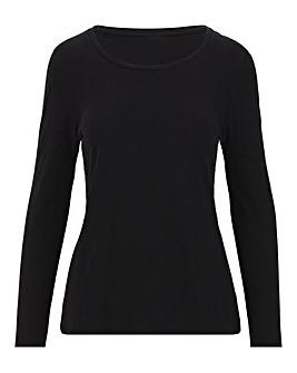 Black Cotton Slub Long Sleeve Top