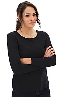 Black Cotton Slub Long Sleeve Top