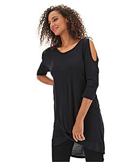 Black Twist Front Cold Shoulder Tunic