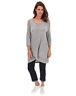 Grey Twist Front Cold Shoulder Tunic