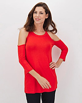 Red Halterneck Cold Shoulder Top