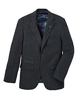Black Label Herringbone Lapel Pin Blazer Regular Length