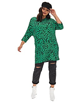 Jade Dalmation Print Oversized Tunic