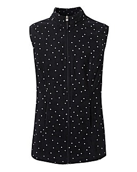 Polka Dot Contrast Zip Fleece Gillet