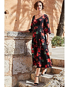 Joanna Hope Red Floral Angel Sleeve Jersey Midi Dress
