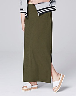 DOULE SPLIT CREPE MAXI TUBE SKIRT
