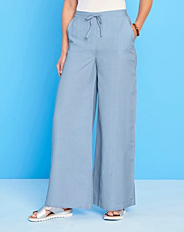 Easy Care Linen Mix Wide Leg Trousers