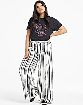 Stripe Easy Care Linen Mix Wide Trousers