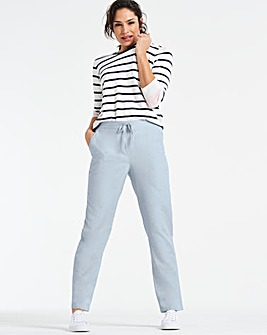 Easy Care Linen Mix Tapered Trousers