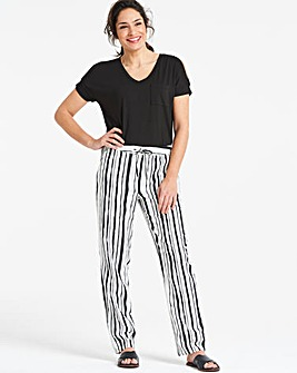 Stripe Easy Care Linen Mix Tapered Trs