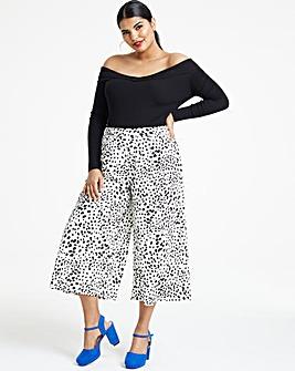 Print Crepe Wide Leg Culottes