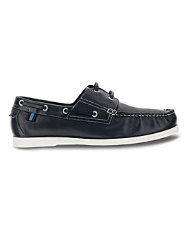 Leather Boat Shoe with Contrast Sole