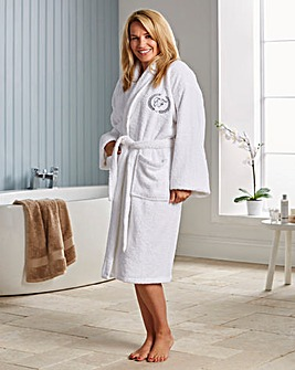 White Spa Monogram Towelling Bathrobe