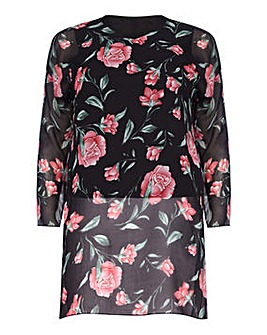 Mela London Curve Floral Side Split Top